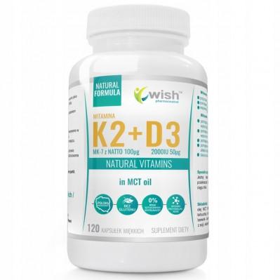 WISH WITAMINA K2 MK-7 + D3 2000IU MCT OIL 120 tabs.